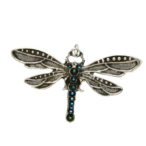 Dragonfly Pendant with Blue Dichroic Beads