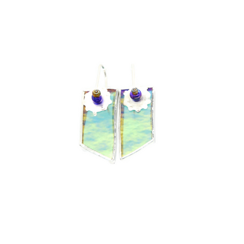 Mod Earrings in Aqua Irridized Glass
