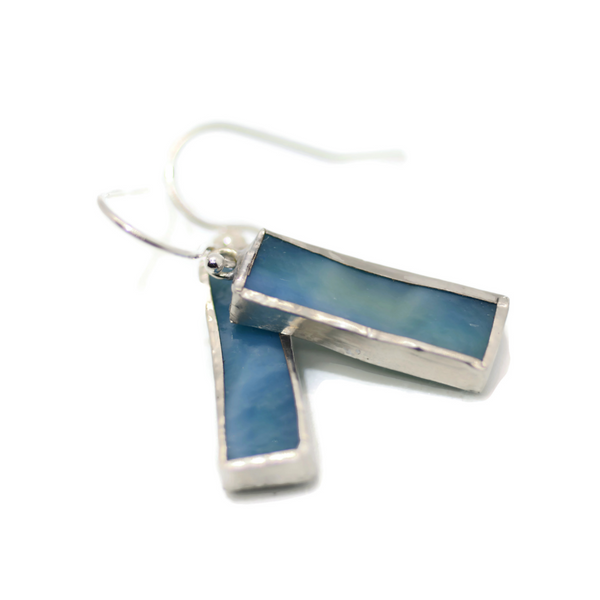 Blue Mottled Ring Stained Glass Earrings