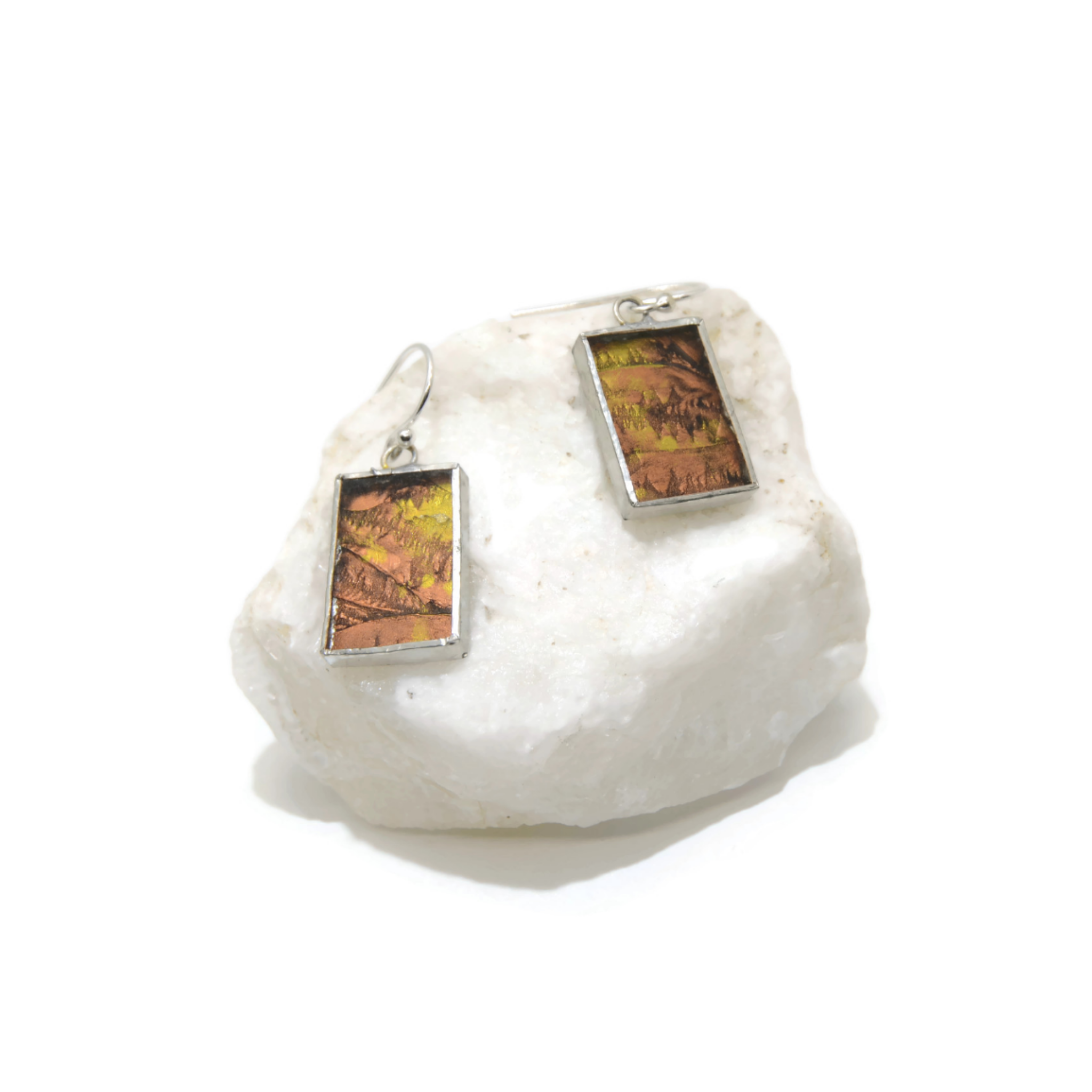 Gold and Copper Van Gogh Glass Rectangle Earrings