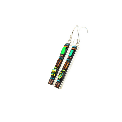 Copper and Green Deco Earrings