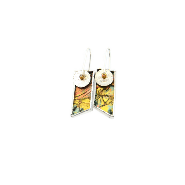 Mod Earrings with Gold, Copper and Green Van Gogh Glass