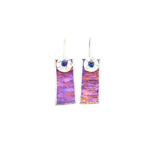 Mod Earrings in Irridized Burgundy Glass