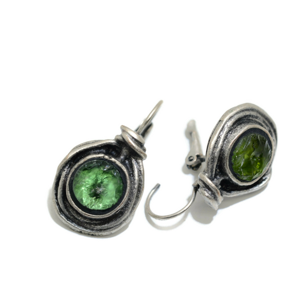 Roman Glass Birdnest Earrings Green