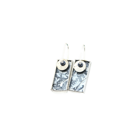 Mod Earrings in Silver Van Gogh Glass