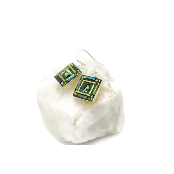 Green and Turquoise Square Bling Earrings