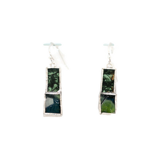 Not So Simple Earrings with 2 kinds of Green Glass