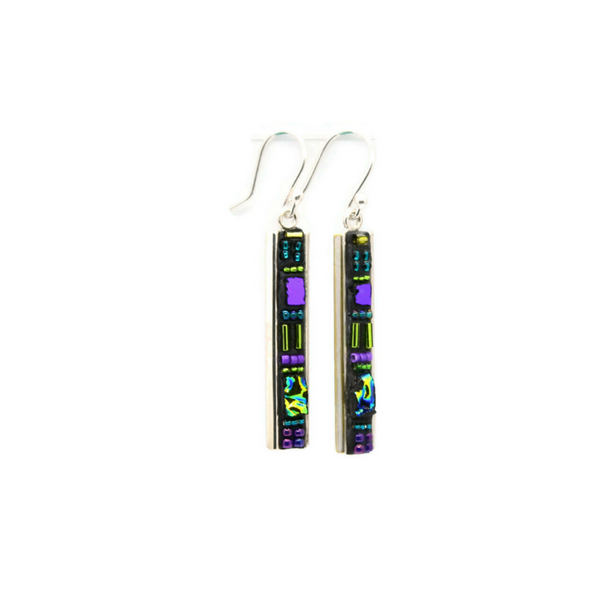 Purple and Green Deco Earrings