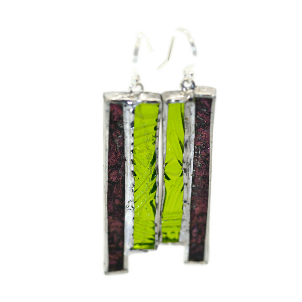 Not So Simple Earrings with Pink and Green Glass