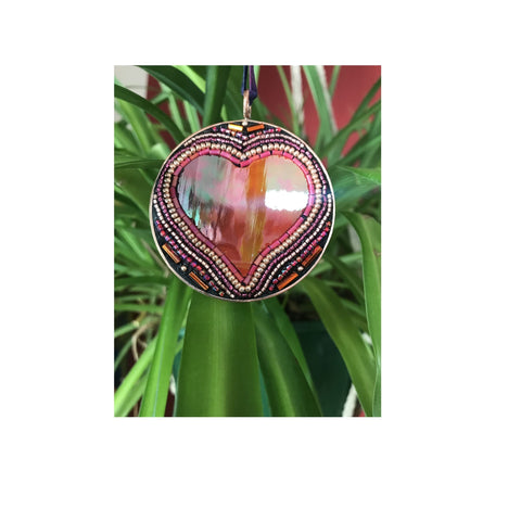 Heart Pendant with Stained Glass and Beads
