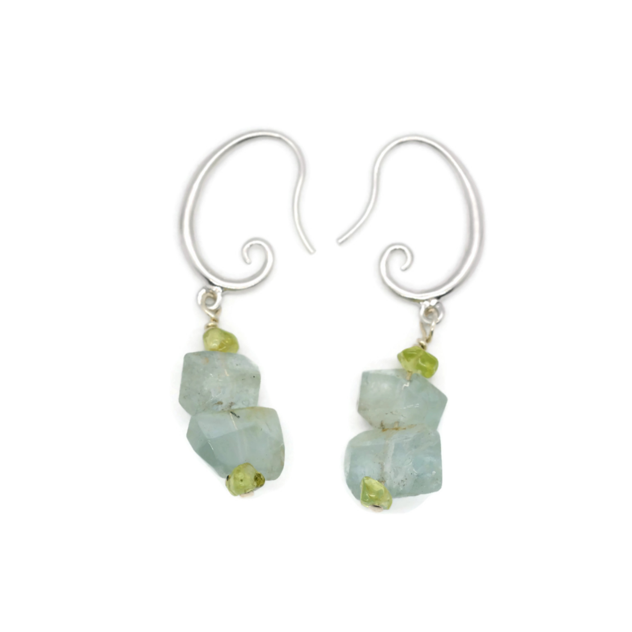 Apatite and Peridot Mask Earrings