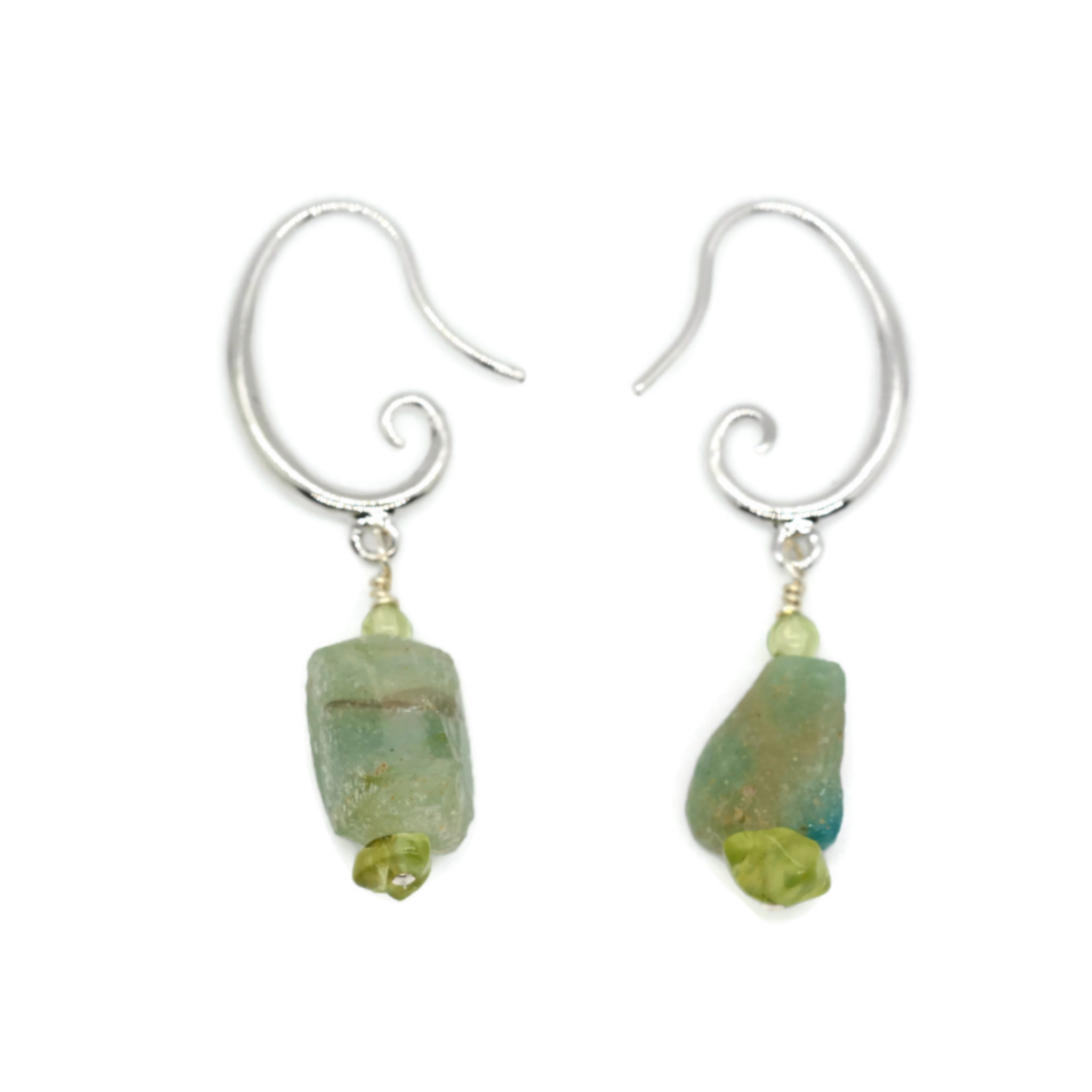 Blue and Green Roman Glass Mask Earrings