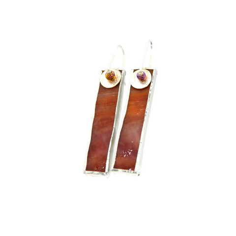 Mod Earrings in Red Stained Glass