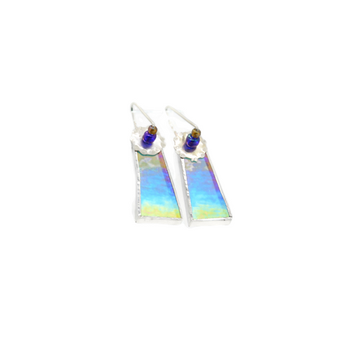Mod Earrings Aqua Blue Irridized Glass
