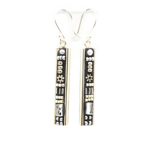 Black and Silver Deco Earrings