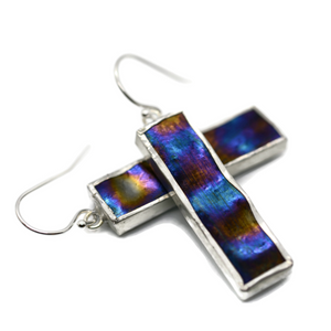 Night Sky Irridized Glass Earrings