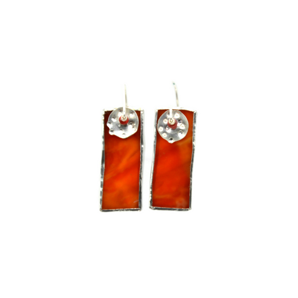Mod Earrings in Orange Stained Glass