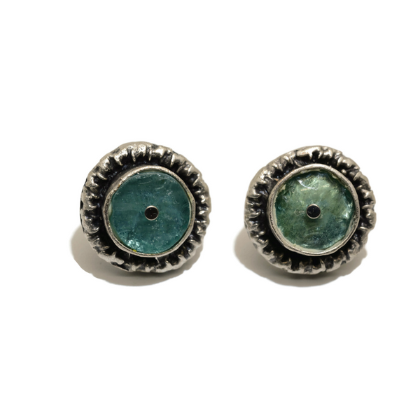 Blue Roman Glass Post Earrings in Corona Setting