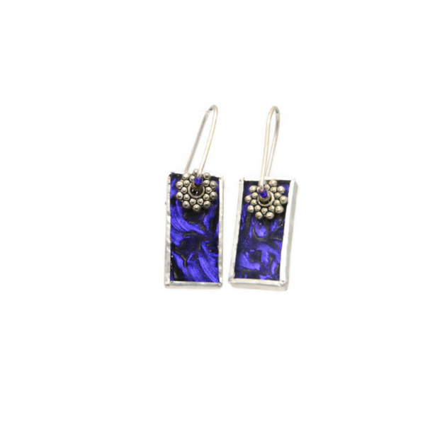 Mod Earrings with Purple Van Gogh Glass