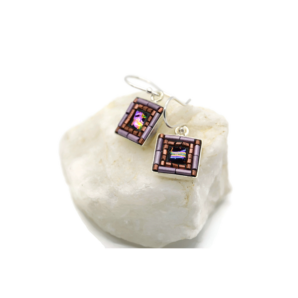 Purple and Copper Square Bling Earrings