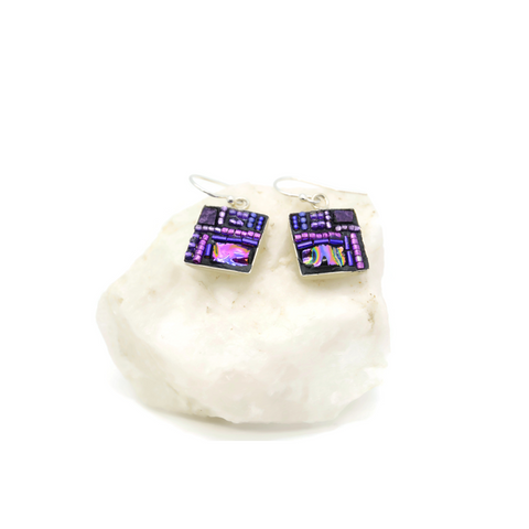 Purple Crazy Quilt Bling Earrings