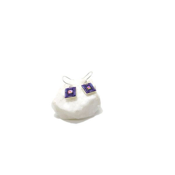 Purple Matte Square Bling Earrings