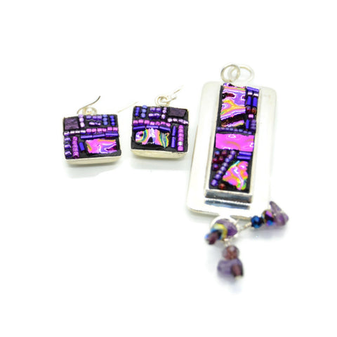 Purple Crazy Quilt Style Earring and Pendant Set