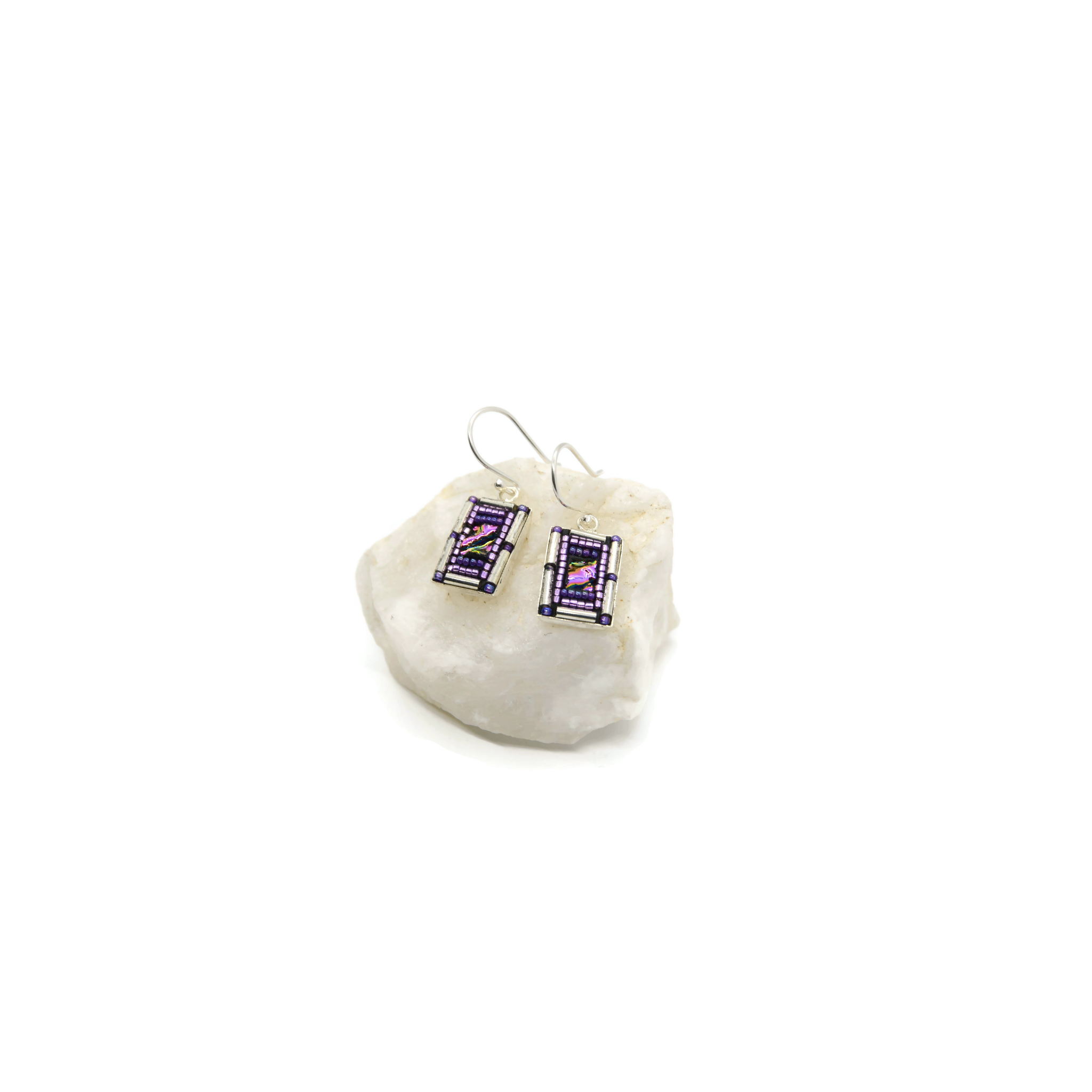 Purple and Silver Rectangle Bling Earrings