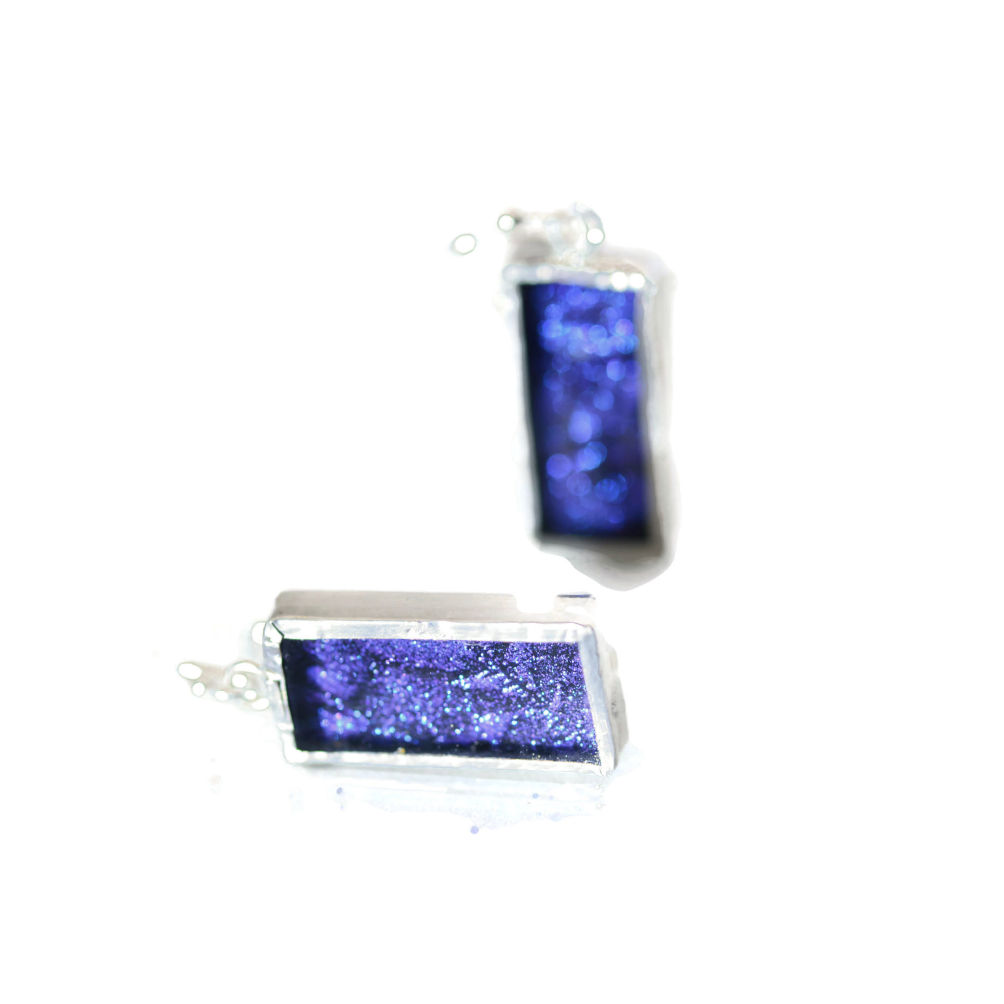 Blue and Purple Sparkle Van Gogh Glass Rectangle Earrings