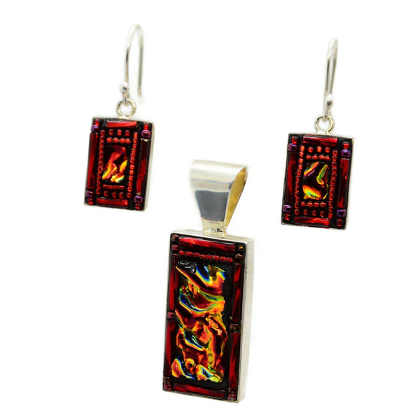 Red Dichroic Glass and Beads Earring and Pendant Set