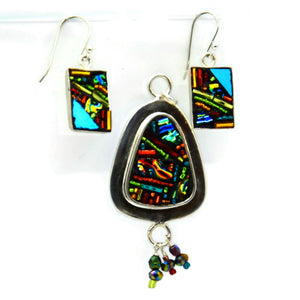 Crazy Quilt Style Earring and Pendant Set