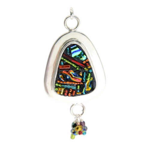 Crazy Quilt Triangular Pendant