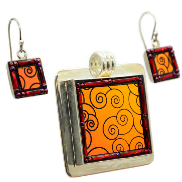 Red Dichroic Spiral Earring and Pendant Set