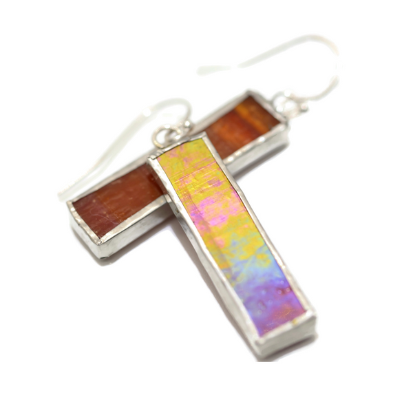 Red Irridized Stained Glass Earrings