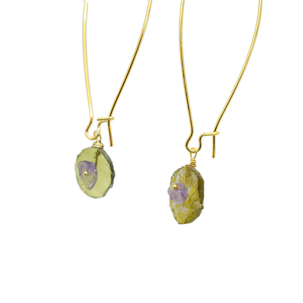 Green Roman Glass and Amethyst Earrings