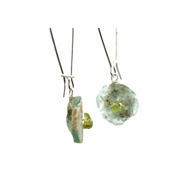 Blue Roman Glass Earrings with Peridot