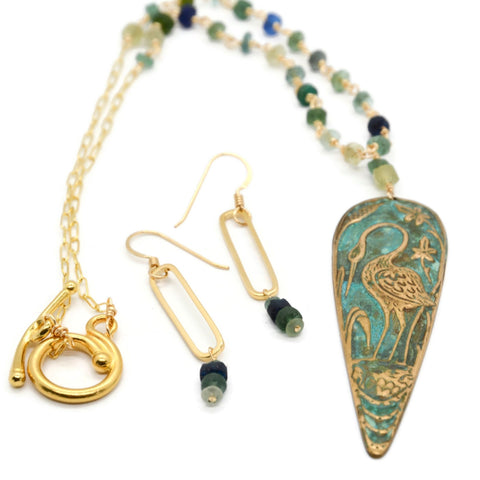 Roman Glass Necklace and Earring Set with Heron and Oval Drop Earrings