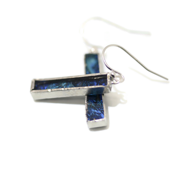 Blue Sparkle Van Gogh Glass Earrings