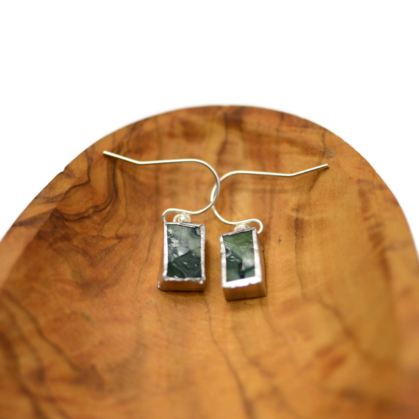 Delicate Green, Green and Green Stained Glass Earrings