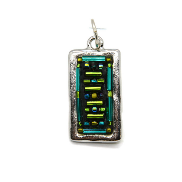 Beaded Pendant in Aqua Blue and Green