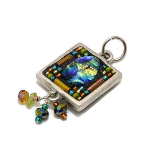 Square Pendant with Dichroic Glass and Beads
