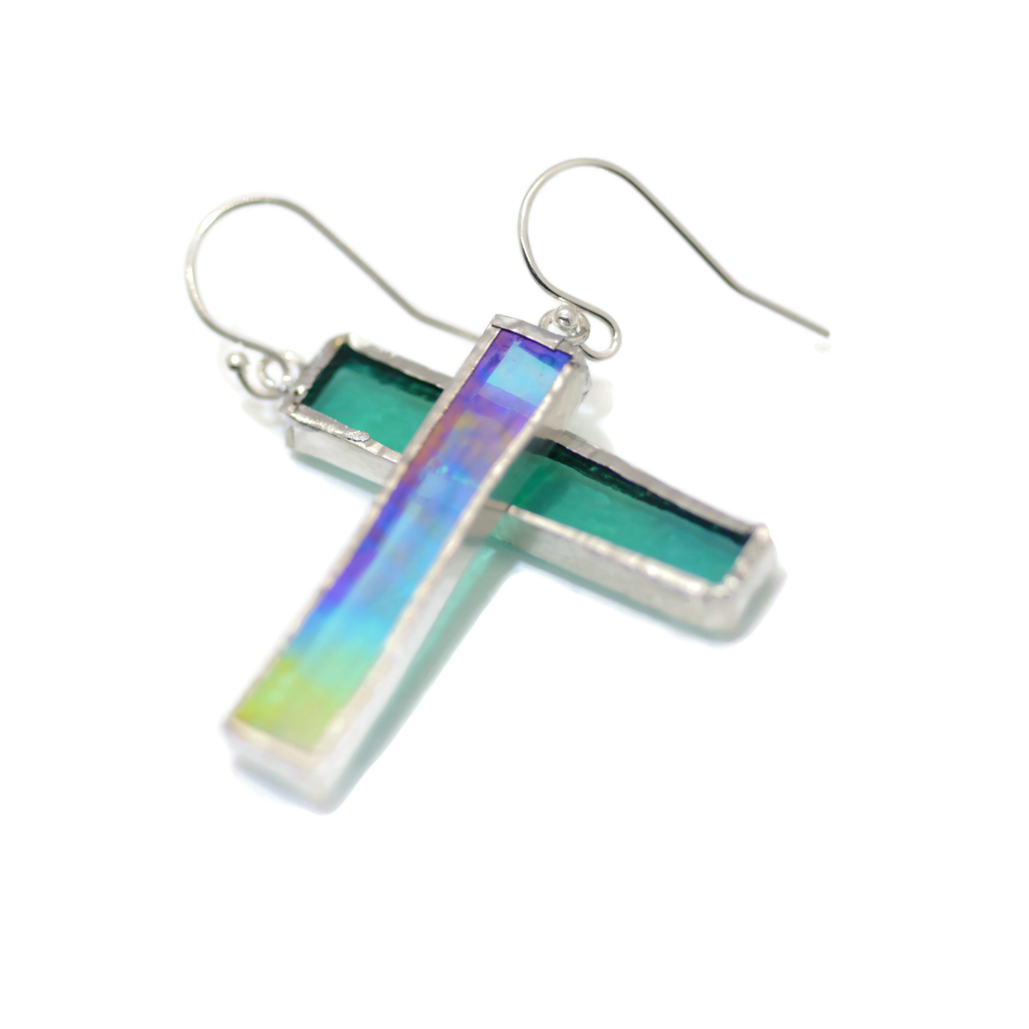 Turquoise Irridized Glass Earrings