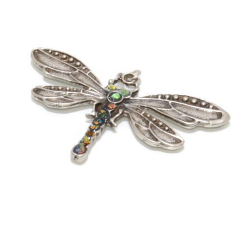 Dragonfly Pendant with Rainbow Dichroic Beads