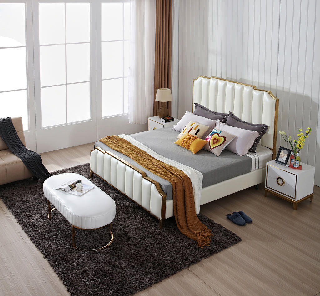 Golden frame leather bed for bedroom A30 - IdeaHome24 - Home Decor ideahome24.com