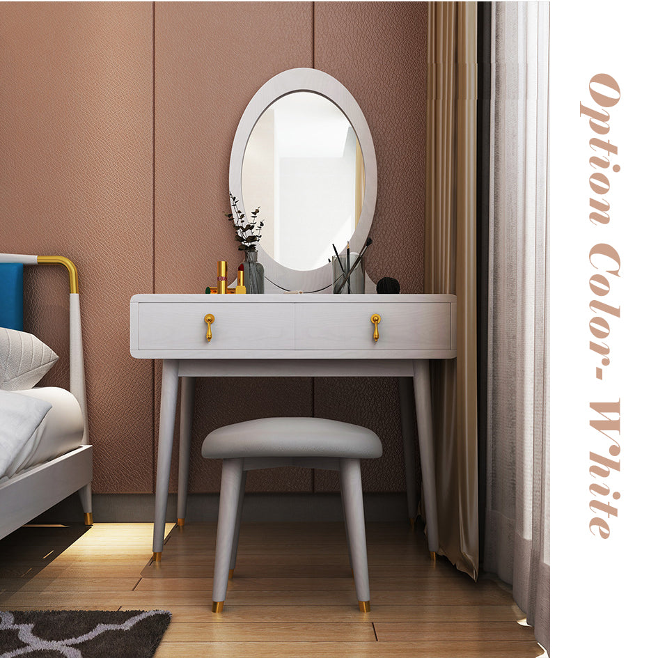 Nordic Style White Ash Wood with Copper Feet Dresser (with Chair) - IdeaHome24 - Home Decor ideahome24.com
