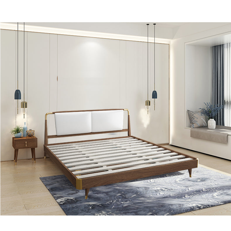 Nordic Style White Ash Wood Black Color with Copper Feet 1.5m Bed - IdeaHome24 - Home Decor ideahome24.com