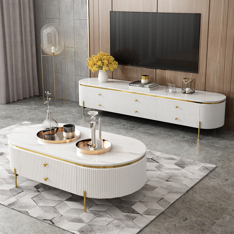Italy designed White marble TV table with Sofa Table CJ019 (Separate price see details) - IdeaHome24 - Home Decor ideahome24.com