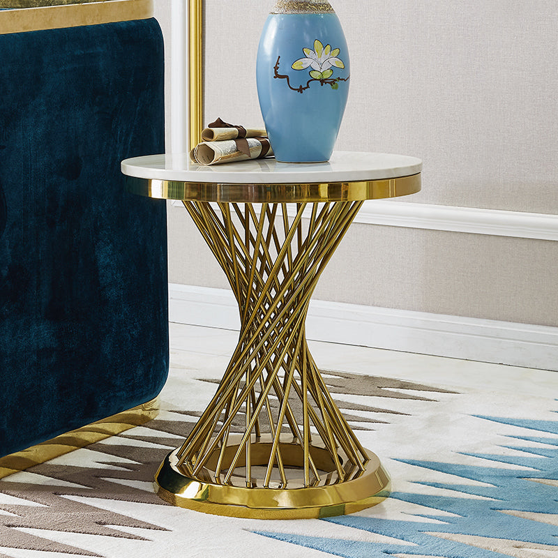 Italy designed white marble with golden frame home furniture corner/ coffee table  CJ1023 - IdeaHome24 - Home Decor ideahome24.com