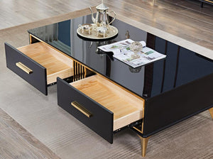 Italy Designed Black with golden sofa table/coffee table for living room CJ1810 - IdeaHome24 - Home Decor ideahome24.com