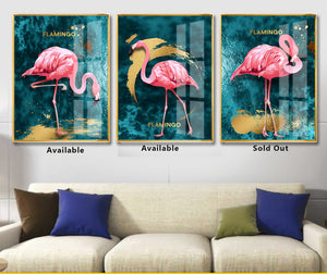 New Glass Flamingo Wall-Painting for living room or Bedroom YH102 - IdeaHome24 - Home Decor ideahome24.com
